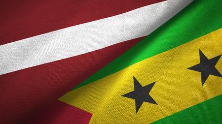 Latvia and Sao Tome and Principe two flags textile cloth, fabric texture