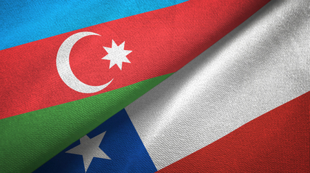 Azerbaijan and Chile two flags textile cloth, fabric texture Banque d'images