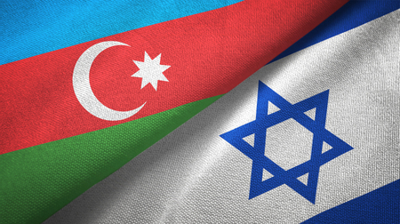 Azerbaijan and Israel two flags textile cloth, fabric texture Stock Photo
