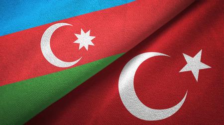 Azerbaijan and Turkey two flags textile cloth, fabric texture