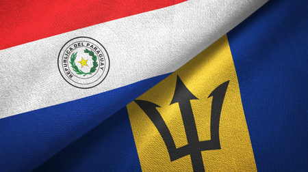 Paraguay and Barbados two flags textile cloth, fabric texture