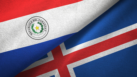 Paraguay and Iceland two flags textile cloth, fabric texture Archivio Fotografico