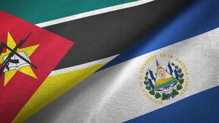 Mozambique and El Salvador two folded flags together Banco de Imagens