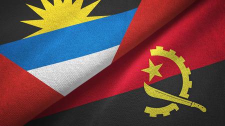 Antigua and Barbuda and Angola flags together textile cloth, fabric texture