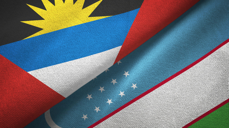 Antigua and Barbuda and Uzbekistan two flags textile cloth, fabric texture