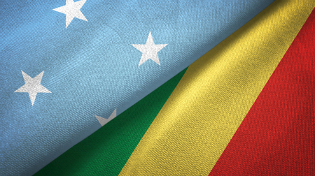 Micronesia and Congo two flags textile cloth, fabric texture Standard-Bild