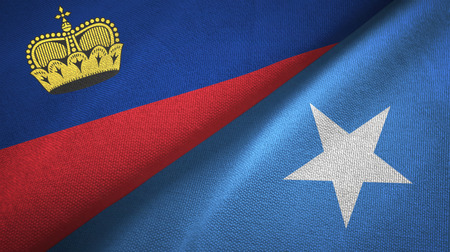 Liechtenstein and Somalia two flags textile cloth, fabric texture
