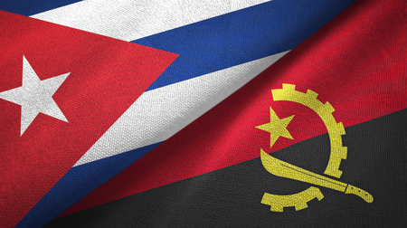 Cuba and Angola two flags textile cloth, fabric texture