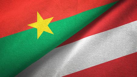 Burkina Faso and Austria two flags textile cloth, fabric texture