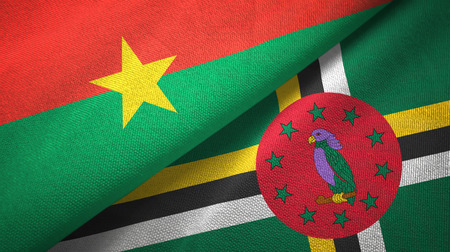 Burkina Faso and Dominica two flags textile cloth, fabric texture