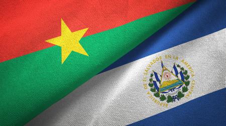 Burkina Faso and El Salvador two flags textile cloth, fabric texture Banco de Imagens