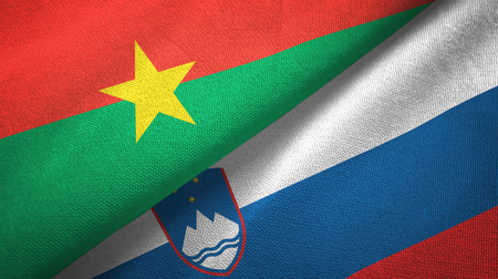 Burkina Faso and Slovenia two flags textile cloth, fabric texture