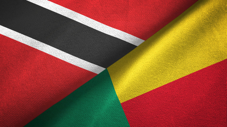 Trinidad and Tobago and Benin two flags textile cloth, fabric texture Stock Photo