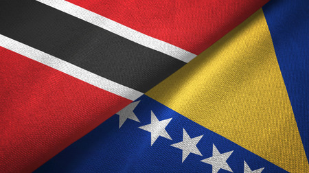 Trinidad and Tobago and Bosnia and Herzegovina two flags textile cloth Stock Photo