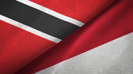Trinidad and Tobago and Indonesia two flags textile cloth, fabric texture