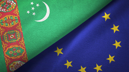 Turkmenistan and European Union flags together textile cloth, fabric texture Stock Photo