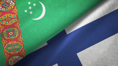 Turkmenistan and Finland flags together textile cloth, fabric texture