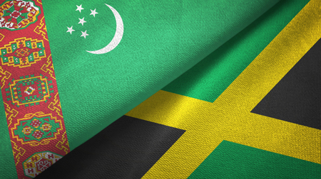 Turkmenistan and Jamaica flags together textile cloth, fabric texture