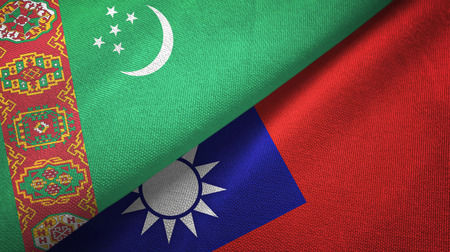 Turkmenistan and Taiwan two folded flags together