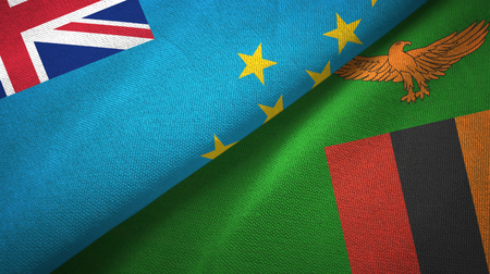 Tuvalu and Zambia two folded flags together Stock Photo
