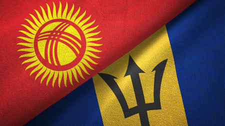 Kyrgyzstan and Barbados two folded flags together