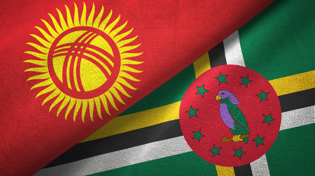 Kyrgyzstan and Dominica two folded flags together