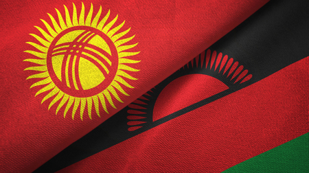 Kyrgyzstan and Malawi flags together textile cloth, fabric texture Imagens