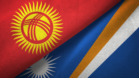 Kyrgyzstan and Marshall Islands two folded flags together