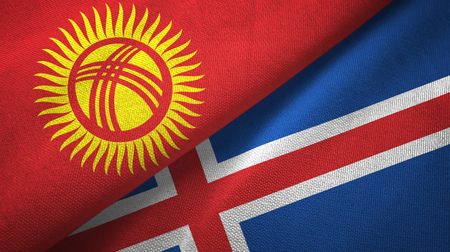 Kyrgyzstan and Iceland flags together textile cloth, fabric texture