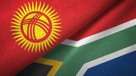 Kyrgyzstan and South Africa flags together textile cloth, fabric texture