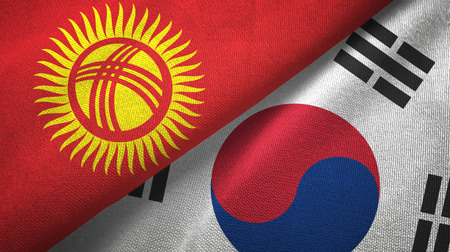 Kyrgyzstan and South Korea flags together textile cloth, fabric texture Imagens