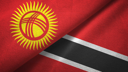 Kyrgyzstan and Trinidad and Tobago two folded flags together