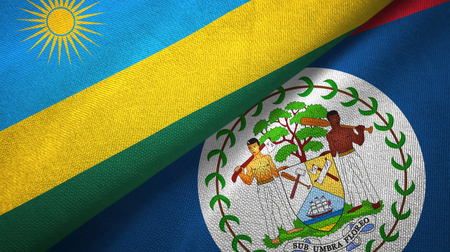 Rwanda and Belize two folded flags together