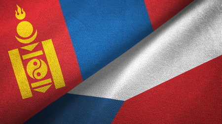 Mongolia and Czech Republic flags together textile cloth, fabric texture