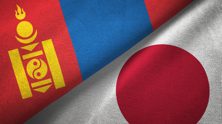 Mongolia and Japan flags together textile cloth, fabric texture Imagens