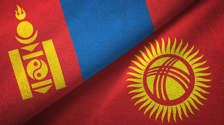 Mongolia and Kyrgyzstan flags together textile cloth, fabric texture