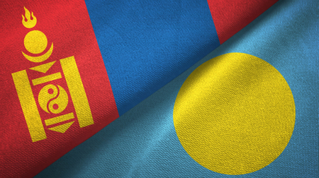 Mongolia and Palau two folded flags together