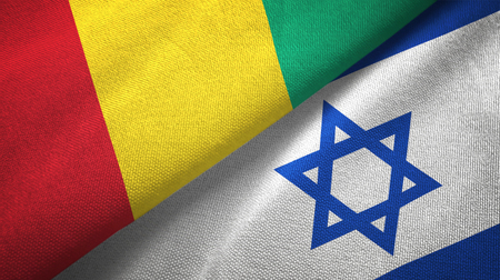 Guinea and Israel flags together textile cloth, fabric texture