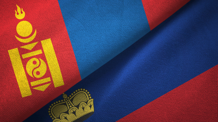 Mongolia and Liechtenstein flags together textile cloth, fabric texture