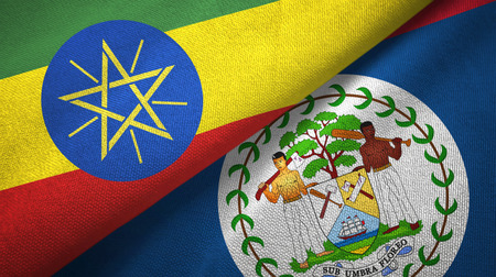 Ethiopia and Belize two folded flags together