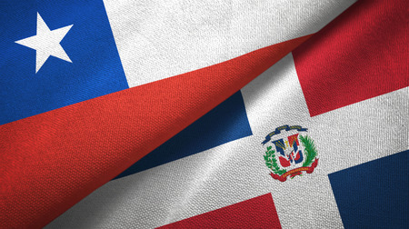 Chile and Dominican Republic two flags textile cloth, fabric texture