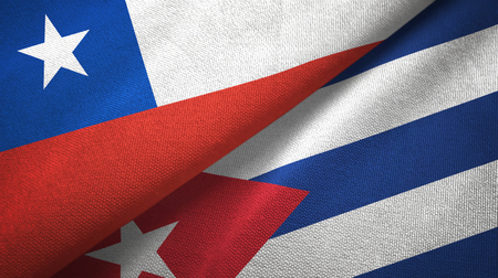 Chile and Cuba two flags textile cloth, fabric texture
