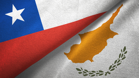 Chile and Cyprus two flags textile cloth, fabric texture Banque d'images