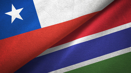 Chile and Gambia two flags textile cloth, fabric texture