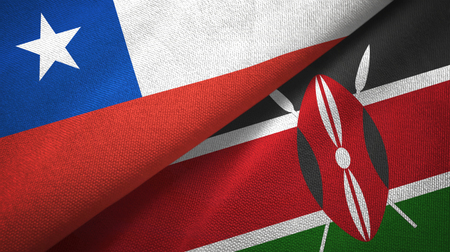 Chile and Kenya two flags textile cloth, fabric texture