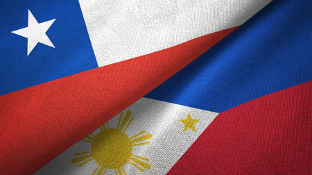 Chile and Philippines two flags textile cloth, fabric texture
