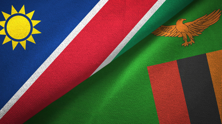 Namibia and Zambia two flags textile cloth, fabric texture Stock Photo