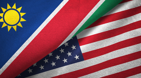 Namibia and United States two flags textile cloth, fabric texture 版權商用圖片