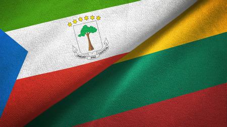 Guinea Ecuatorial y Lituania dos banderas de tela textil, textura de la tela