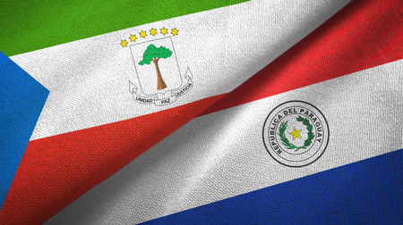 Equatorial Guinea and Paraguay two flags textile cloth, fabric texture